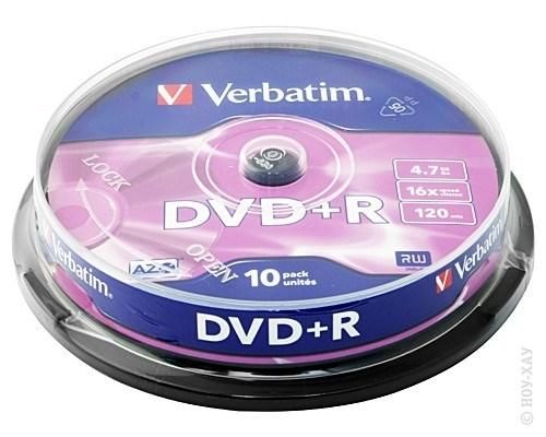 Диск Verbatim DVD+R 4.7Gb 16x 10шт Cake Box
