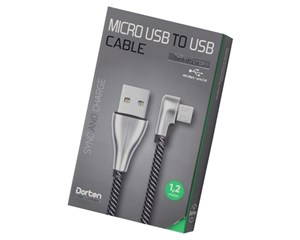 Кабель USB Dorten Micro USB to USB Cable Angled Series 90° 1,2 м Silver