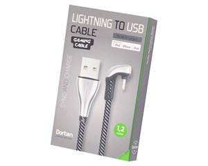 Кабель USB Dorten Lightning to USB Cable Angled Series 360° 1,2 м Silver