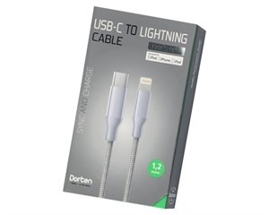 Кабель USB Dorten USB-C to Lightning Cable Metallic Series 1,2 м Silver