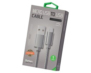 Кабель USB Dorten Micro USB to USB Cable Leather Series 1 м Dark Gray