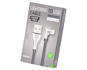 Кабель USB Dorten Lightning to USB Cable Angled Series 90° 1,2 м Silver